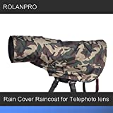 ROLANPRO Rain Cover Raincoat for Telephoto Lens Rain Cover/Lens Raincoat Army Green Camo Guns Clothing L