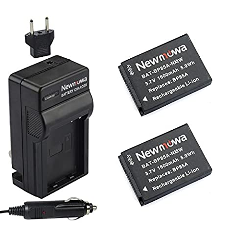 Newmowa EA-BP85A Battery (2-Pack) and Charger kit for Samsung BP85A, EA-BP85A, PL210, SH100, WB210 (Samsung Sh100 Battery)