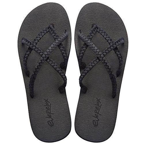 Everelax Women's Flip Flops Sandal 9 B(M) US, Classic Black (Sandals Waterproof Women)