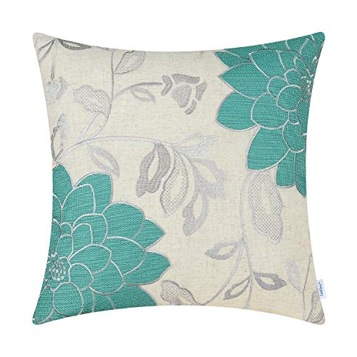 CaliTime High Class Throw Pillow Cover Case for Couch Sofa Home Decoration Vintage Dahlia Floral Applique Embroidered 18 X 18 Inches Teal Silver