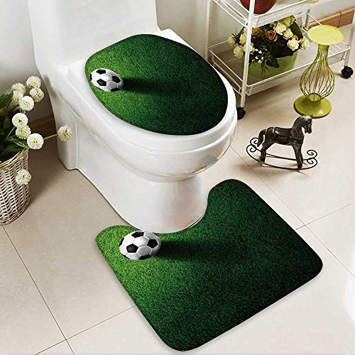aolankaili Toilet carpet floor mat soccer football on grass field 2 Piece Shower Mat set by aolankaili