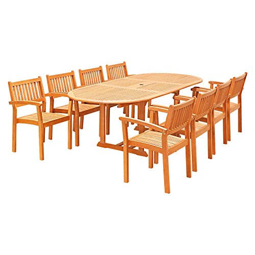 Vifah V144SET28 9 Piece Outdoor Wood Dining Set with Oval Extension Table and Stacking Chairs -