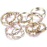 RINHOO FRIENDSHIP 10PCS Bohemian Retro Vintage Crystal Joint Knuckle Ring Sets Finger Rings (Style4)
