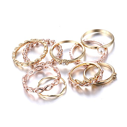Gmai Bohemian Vintage Women Crystal Joint Knuckle Nail Ring Set of 10 pcs Finger Rings Punk Ring Gift (Gold) (Rings)