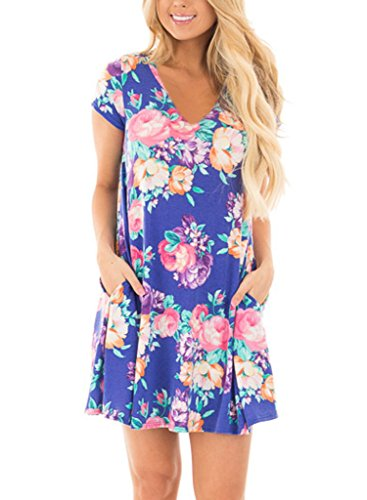 HOTAPEI Women's Floral Print Short Sleeve Casual Loose T-Shirt Mini Dress