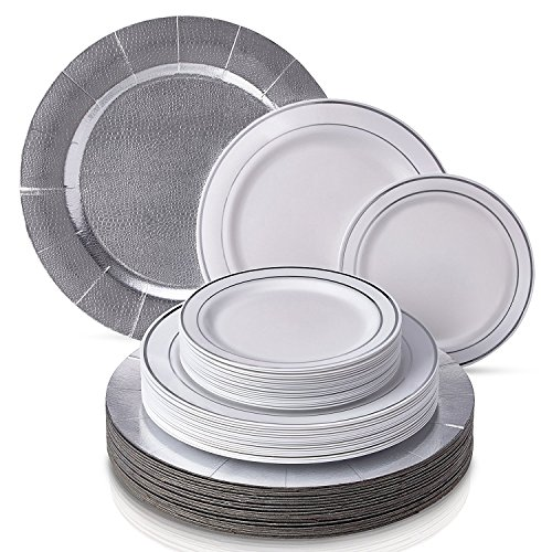 CLASSIC SILVER GLARE COLLECTION DINNERWARE SET | 240 PC DINNERWARE SET | 80 Charger Plates | 80 Dinner Plates | 80 Side Plates | Elegant Fine China Look | for Upscale Wedding and Dining (Silver/White)