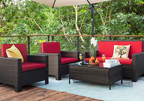 Homall 5 Pieces Outdoor Patio Furniture Sets Rattan Chair Wicker Conversation Sofa Set, Outdoor Indoor Backyard Porch Garden Poolside Balcony Use Furniture (Red)