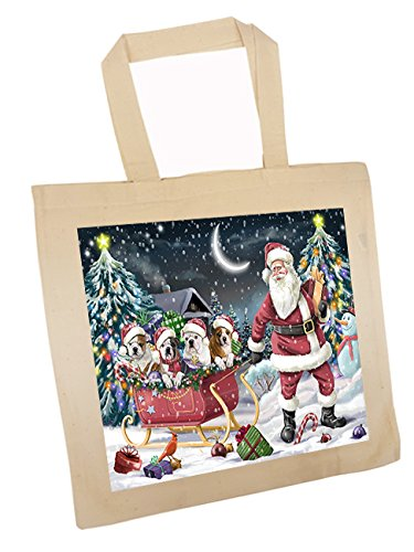 Santa Sled Dogs Bulldog Christmas Tote Bag (Bull Sled)
