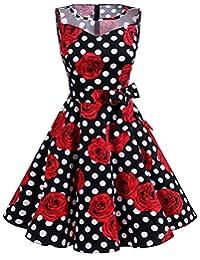 Dresstells Vintage 1950s Rockabilly Illusion Dress Retro Cocktail See Through Dress
