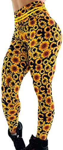 LUXISDE Yoga Pants for Women Sunflower Printed Hip Breathing Exercise Running Pants