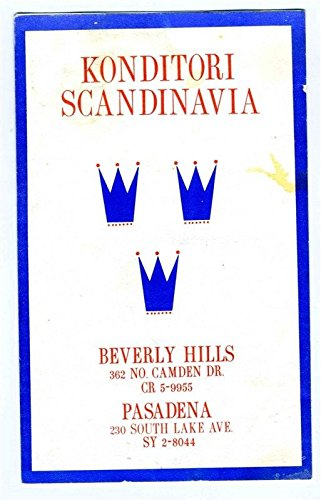 Konditori Scandinavia Restaurant Menu Beverly Hills & Pasadena California 1950s