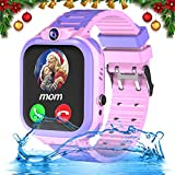 iFunplus Kids Waterproof Smartwatch Phone Girls Boys with GPS Tracker 1.44'' Touch Screen Two Way Call SOS Camera Puzzle Game Love Reward SMS Notification Alarm Clock Gizmo Watch Learning Toys