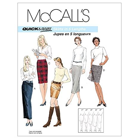 6-8-10-12 Size AA McCalls Patterns M3830 Misses Skirts in 5 Lengths