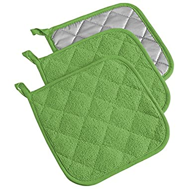 DII 100% Cotton, Machine Washable, Heat Resistant, Everyday Kitchen Basic, Terry Potholder, 7 x 7 , Set of 3, Green Apple