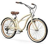 sixthreezero Women's 7-Speed Beach Cruiser Bicycle, Scholar Cream w/Brown Seat/Grips, 26