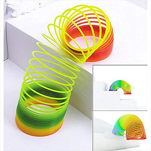 Simply Works Imports Slinky Toy Rainbow Long Giant Plastic Vintage Magic Springs Fun Slinky Toy for Kids 2 Pack