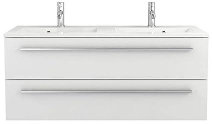 Waschtischunterschrank 120 cm breit weiß Hochglanz Doppel-waschtisch  Doppel-waschbecken Waschbeckenunterschrank Unterschrank Badmöbel-Set  hängend ...