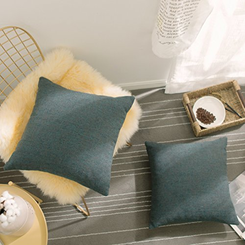 HOME BRILLIANT Throw Pillow Cover Set 2 Pack Linen Chenille