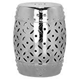 Safavieh Castle Gardens Collection Lattice Coin Ceramic Garden Stool, Silver