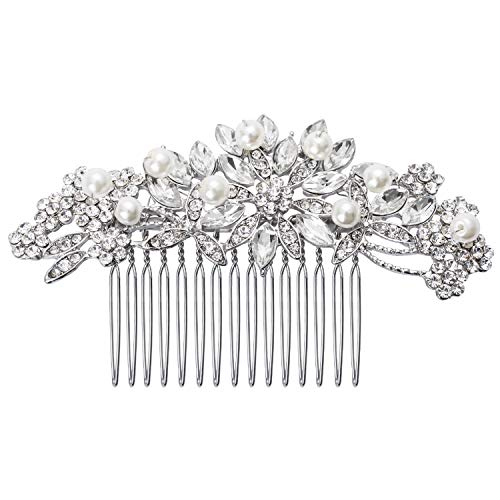 JANE STONE Wedding Hair Accessories for Brides Hair Comb Jewelry Vintage Side Clip Women Silver