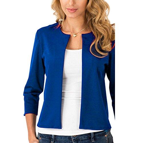 Crop Blazer (Womens Short Slim Welt Jacket Open Front Casual Work Blazer Blue L)