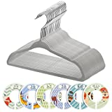 Minnebaby 30 Pack Neutral Grey Baby Clothes Velvet Hangers-Ultra Thin No Slip Nursery Hangers with 6 Pcs Baby Clothing Dividers
