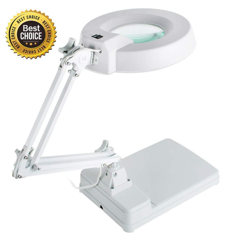 Vinmax 10X Desktop Magnifier Lamp with LED Light |Adjustable Arm Magnifier Lamp Light Magnifying Glass Lens Diopter Folding Magnifier, 110V/220V by vinmax (Image #1)