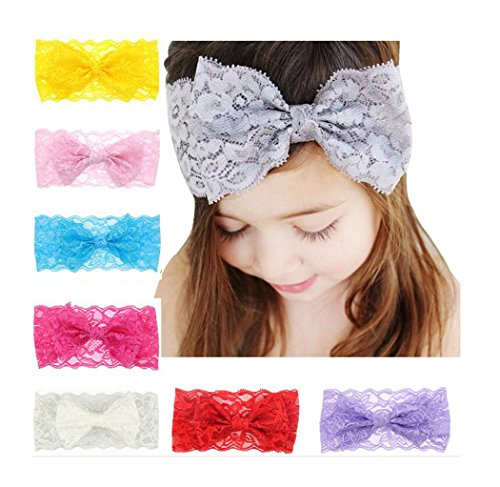 Ms.Gaga 7PCS Girl Baby Headband Toddler Lace Bow Flower Hair Band Accessories