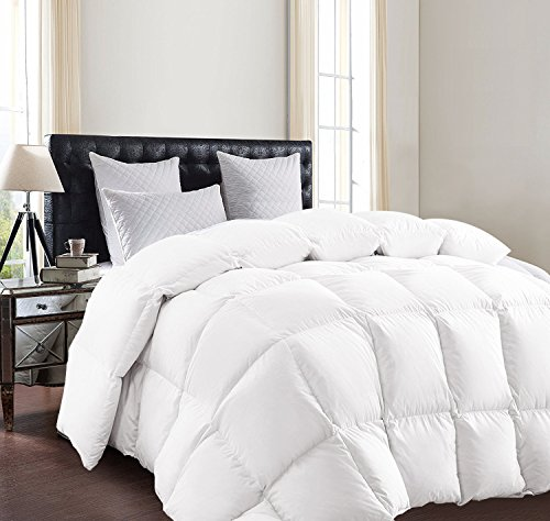 SUNTQ White Goose Down Comforter Size King Lightweight Luxurious Duvet All Seasons Solid Hypo-allergenic 800 Thread Count 750+ Fill Power 100% Cotton Shell Down Proof (King)