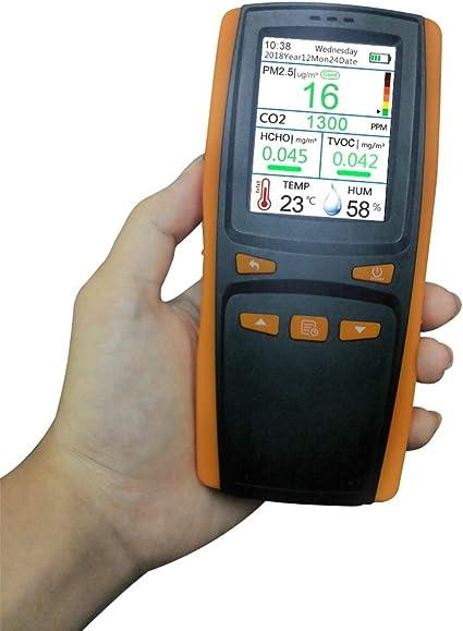 Carrfan Formaldeh/ído CO2 HCHO TVOC LED Medidor de Pantalla Digital Medidor Mini Detector de Di/óxido de Carbono Analizador de Gas Protable Probador de Calidad del Aire Detecci/ón Precisa e Inteligente