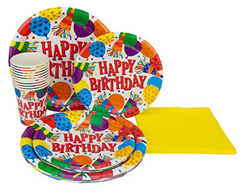 Perfect Settings Disposable Tableware - Happy Birthday Plates Balloons Confetti- Dinner Set Bundles of 10 Includes Happy Birthday 9