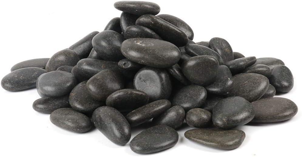 FANTIAN Black Natural Decorative River Pebbles – 5lb 0.78-1.57 Inch Black Ornamental River Pebbles for Garden Landscaping, Home Décor, Outdoor Paving, Fountain Decoration.