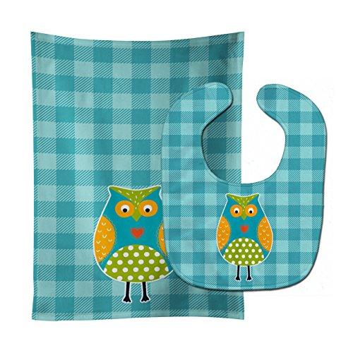 Plaid Owl - Caroline's Treasures Baby Bib & Burp Cloth, Owl on Blue Plaid, Large