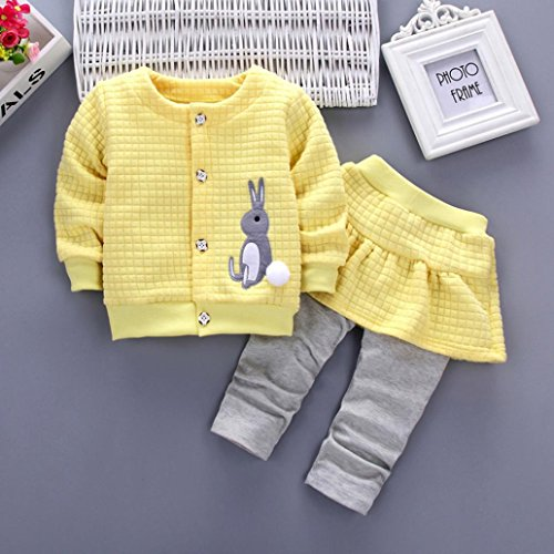 Egmy 2Pcs Toddle Baby Girls Rabbit Print Tops Coat+Pants Outfits (Size:24M, Yellow) by Egmy (Image #1)