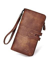 Women Wallet Large Leather Designer Card Holder Organizer Long Ladies Travel Clutch Wristlet brown