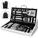 Monbix GL-80633 33 Pieces Professional BBQ Grill Tool Set Aluminium Case - Heavy Duty Stainless Steel Barbecue Accessories - Outdoor Camping Tailgating Utensils Kit