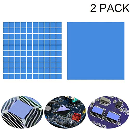 (Kalolary Soft Thermal Conductive Silicone Pad-2 Pcs High Performance Double Side Tapes Heatsink Cooling Silicone Pad for GPU/CPU/VGA/IC/LED Heat Dissipation (100mmx100mmx1mm+100mmx100mmx2mm))