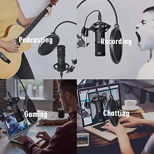 USB Streaming Podcast PC Microphone, SUDOTACK skilled 192KHZ/24Bit Studio Cardioid Condenser Mic Kit with sound card Boom Arm Shock Mount Pop Filter, for Skype YouTuber Karaoke Gaming Recording