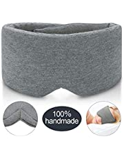 JEBBLAS 100% Hand Made Cotton Sleep Mask Blackout Super Soft and Comfortble Blocking Out Light Eye Mask for Sleeping Adjustable Blinder Blindfold Airplane with Travel Pouch