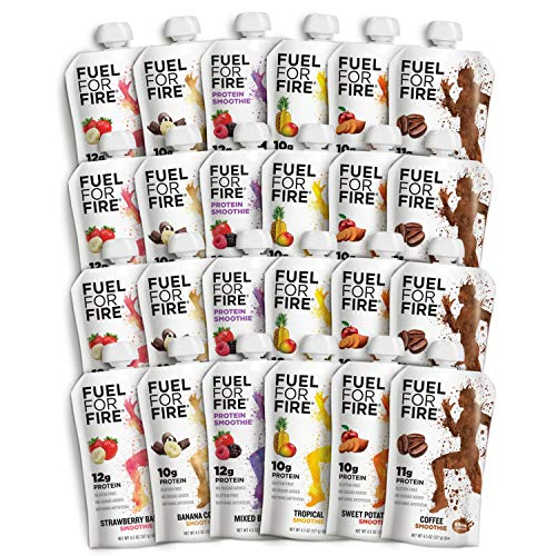 Fuel For Fire  Variety Pack with All Flavors 24 Pack Including New Mixed Berry Fruit amp Protein Smoothie Squeeze Pouch | GlutenFree SoyFree Kosher No Added Sugar 45 ounce pouches