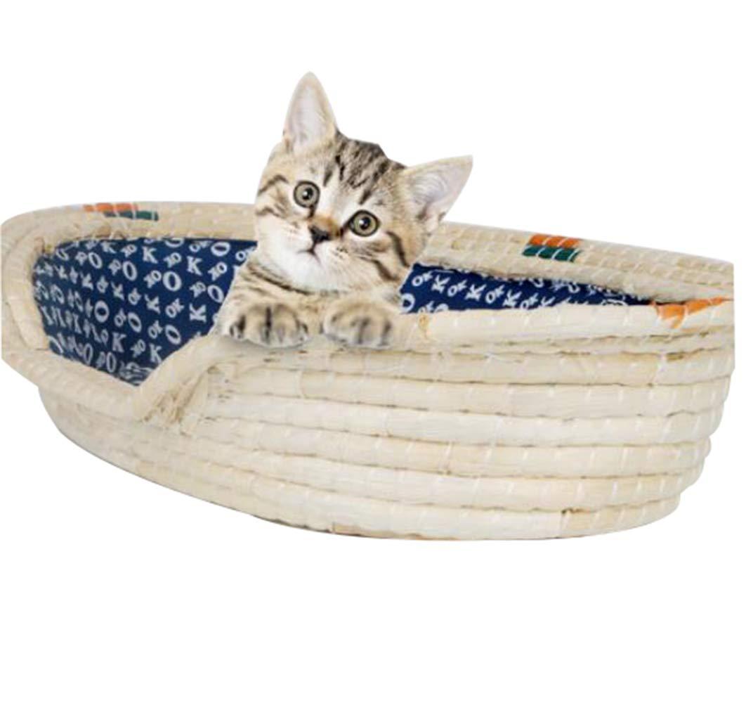 Large Pet Season Kennel, Handmade Straw cat Litter, pet seat Cushion, pet Supplies