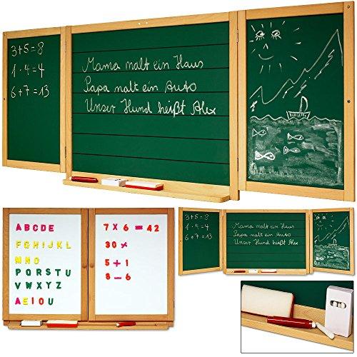Zweiseitige Kindertafel mit Kreide und Magentafel mit Zahlen + Buchstaben - Maltafel Lerntafel Wandtafel
