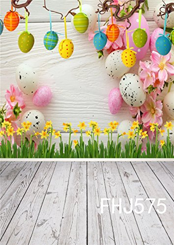 LB Spring Easter Backdrop for Photography 5x7ft Vinyl Yellow Flowers Eggs Wood Floor Background for Children Kids Adult Portraits Photo Backdrop Studio Props by LB (Image #1)