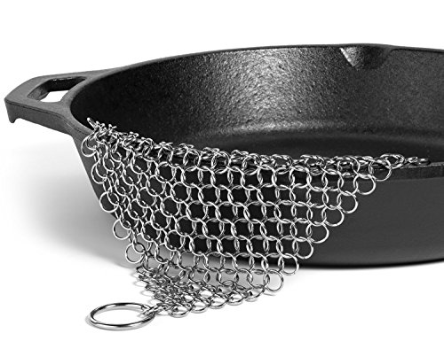 "Price comparison product image Virgin Forest 8""x6"" Stainless Steel 316L Cast Iron Cleaner Chainmail Scrubber for Cast Iron Pan Pre-Seasoned Pan Dutch Ovens Waffle Iron Pans Scraper Cast Iron Grill Scraper Skillet Scraper"