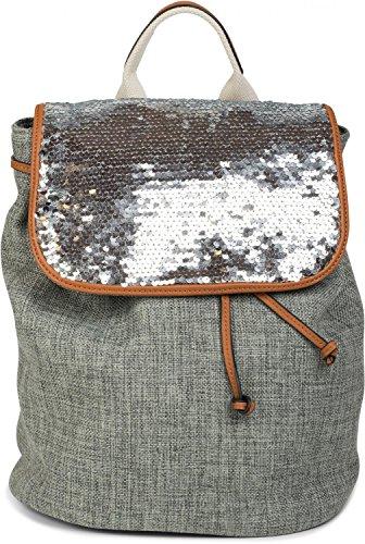di lino donna 02012155 paillettes borsa effetto zainetto da con colore Grigio Blu patta styleBREAKER ricoperta WI0qPS