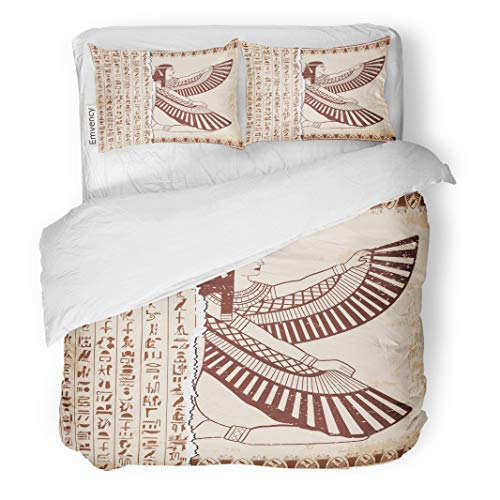 Semtomn Decor Duvet Cover Set Full/Queen Size Egyptian National Drawing Goddess Isis and Hieroglyphs Brown 3 Piece Brushed Microfiber Fabric Print Bedding Set Cover