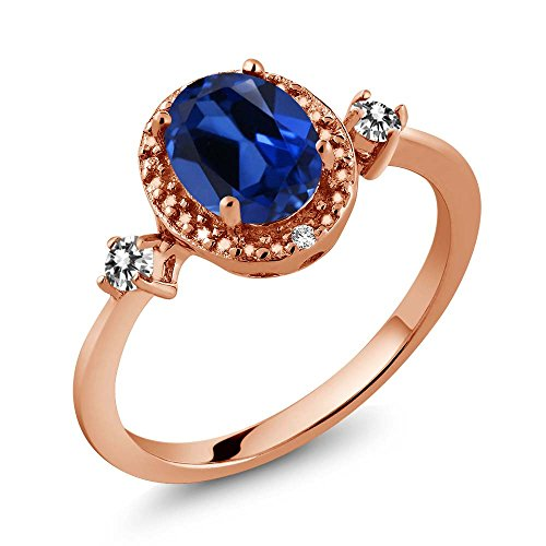 Gem Stone King 1.74 Ct Blue Simulated Sapphire White Diamond 18K Rose Gold Plated Silver Ring With Accent Diamond