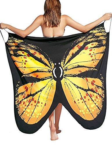Vivilover Womens Spaghetti Strap Butterfly Print Cover Up Backless Bikini Wrap Beach Dress Swimwear (Yellow, XL/US 12-16) (Sarong Dress)