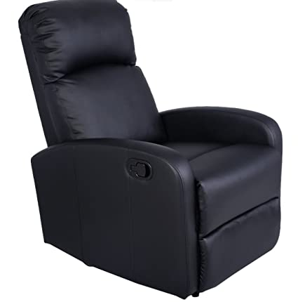 Brand New Costway Manual Recliner Chair Black Lounger Leather Sofa Seat  Home Theater With A Durable