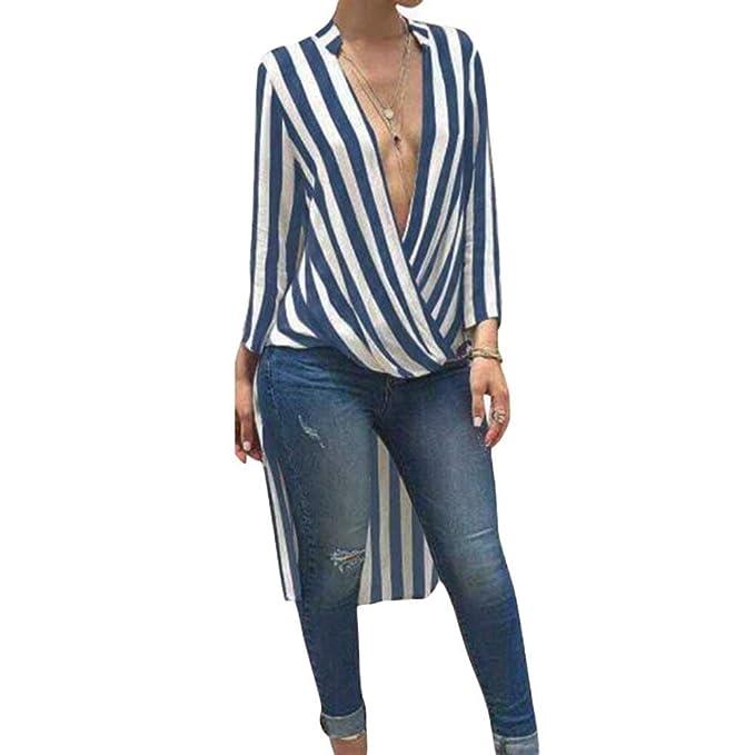 Battercake Blusas Superiores Mujer Primavera Elegantes Moda Camiseta Larga Flecos Cuello En V Profundo Manga Larga Casuales Mujeres Irregular Casual Camisa ...